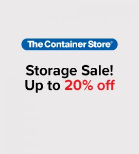 Text showing storage sale - up to 20$ off