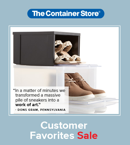 Images of organized shoes in storage containers